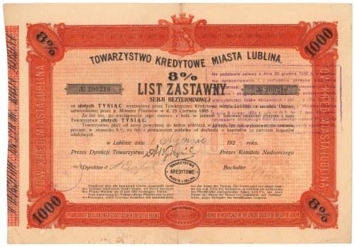 Lublin, TKM, List zastawny 1.000 zł 1928