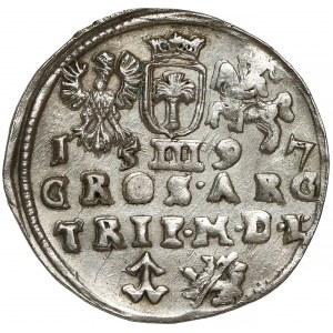 Zygmunt III Waza, Trojak Wilno 1597 - Koste - RZADKOŚĆ