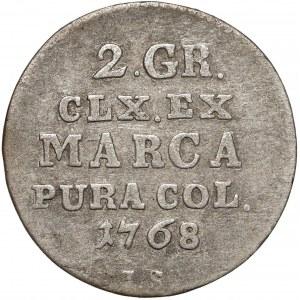 Poniatowski, Półzłotek 1768 I.S - bez kropki po PURA - rzadki rok