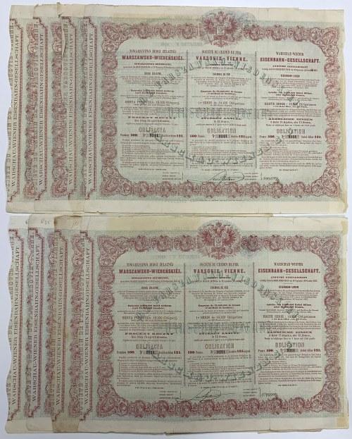 Tow. Drogi Żelaznej Warszawsko-Wiedeńskiej 125 rub 1860 (8szt)