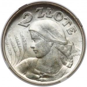 Kobieta i kłosy 2 złote 1924 Filadelfia - ODWROTKA
