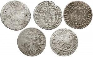 Gustaw Adolf, Trojak, półtoraki i grosz Elbląg 1628-33, w tym rzadkie (5szt)