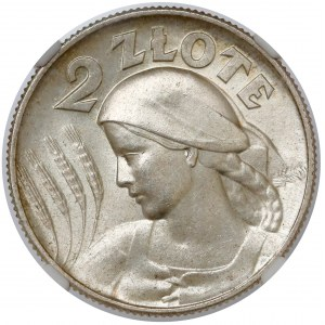 Kobieta i kłosy 2 złote 1925 z kropką, Londyn - OKAZOWE